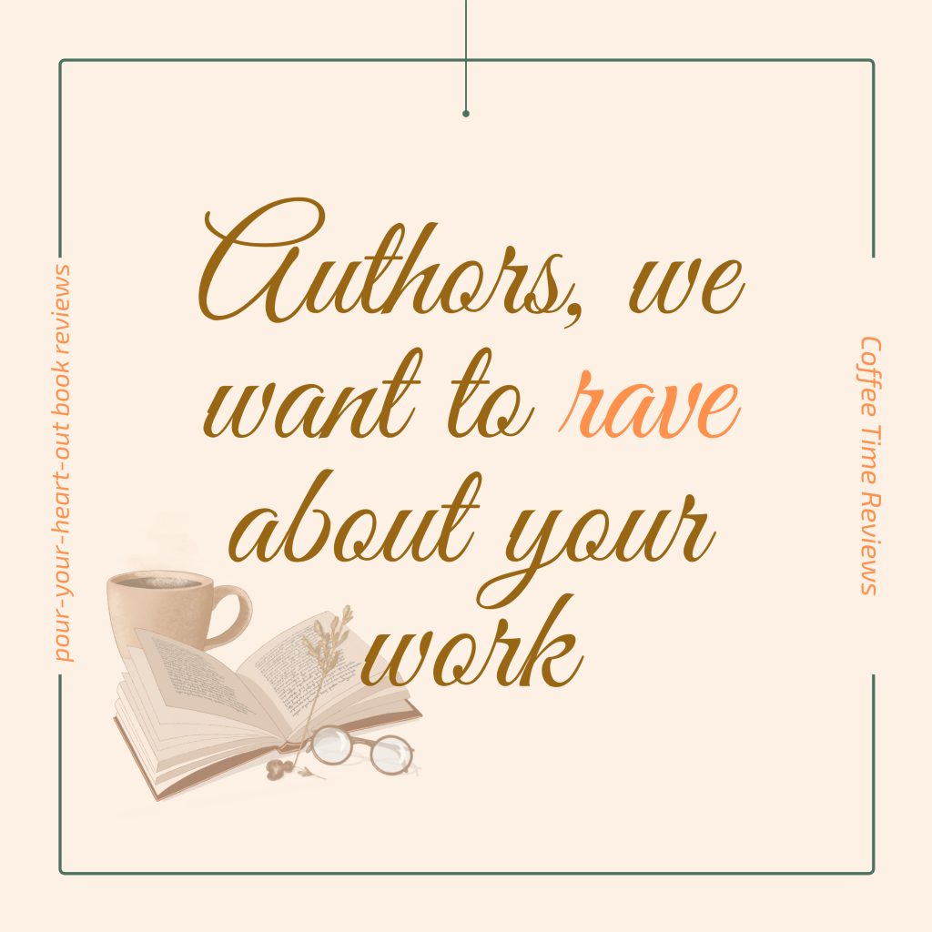 Light beige image with an open book picture in the bottom left corner and brown text calling for authors to submit books for review.