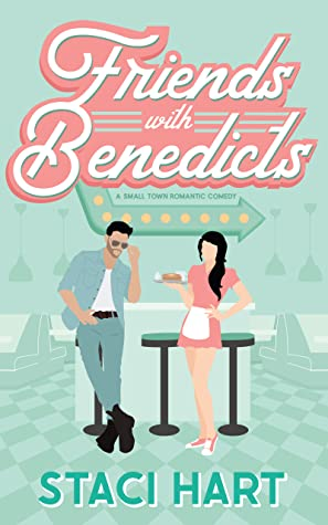 Cover of 'Friends with Benedicts', pale green with two people in a diner.