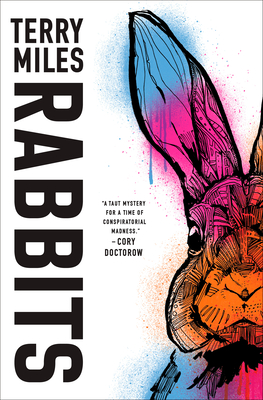 Cover of 'Rabbits', white background with a colourful rabbit on the right side.