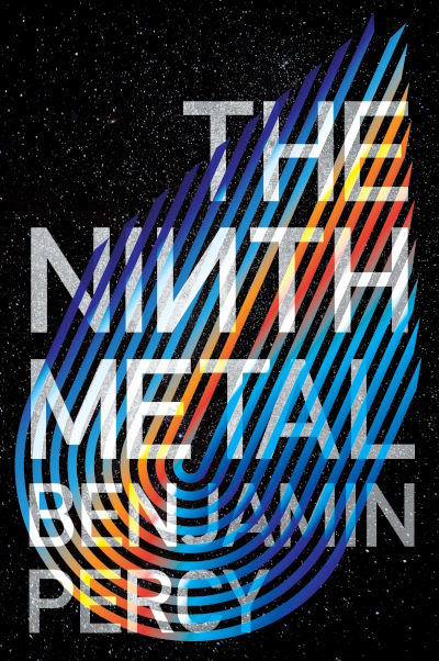 Cover of 'The Ninth Metal', black background with colourful lines.