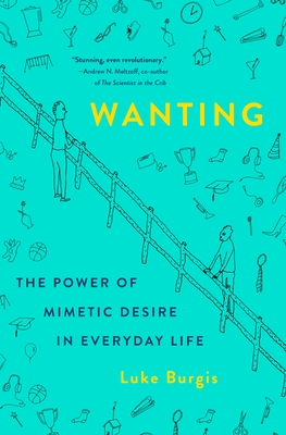 Cover of 'Wanting', turquoise background with two people standing on either side of a fence.