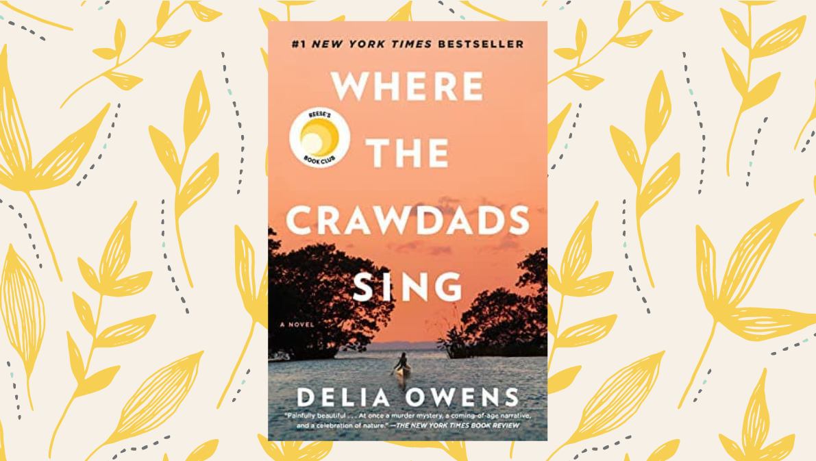 Cover of 'Where the Crawdads Sing' on a cream background with yellow leaves.