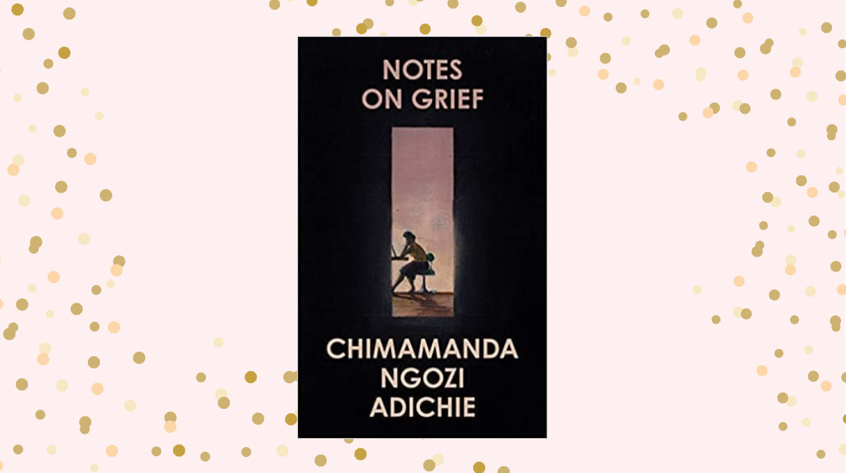 Cover of 'Notes on Grief' on a pale pink background with gold polka dots