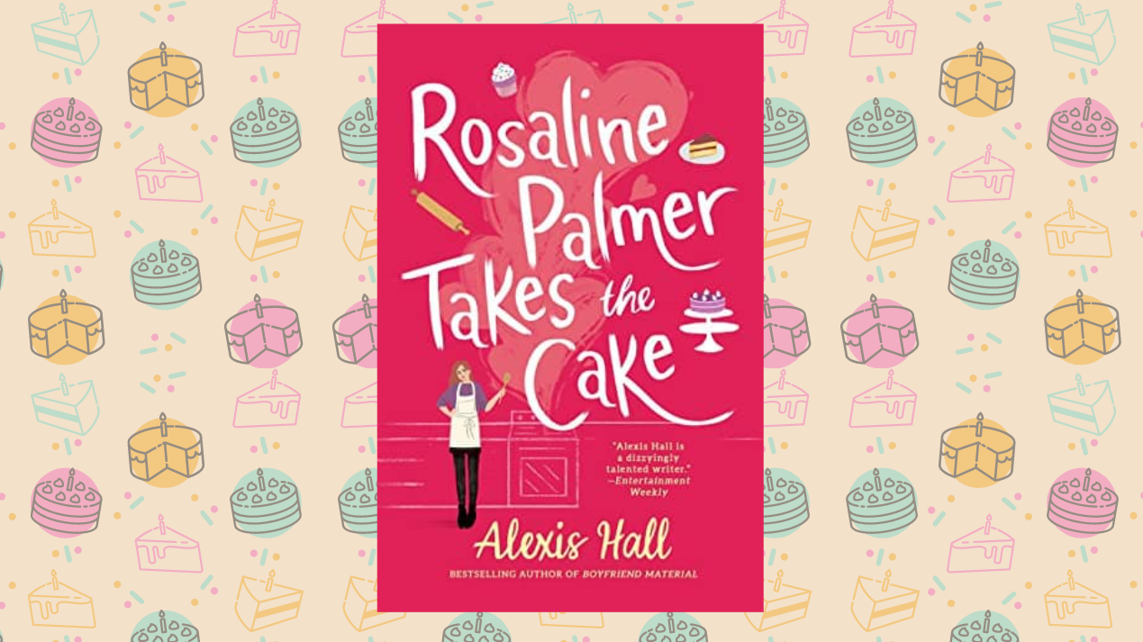 Cover of Rosaline Palmer takes the cake on a beige background with cake doodles all over.