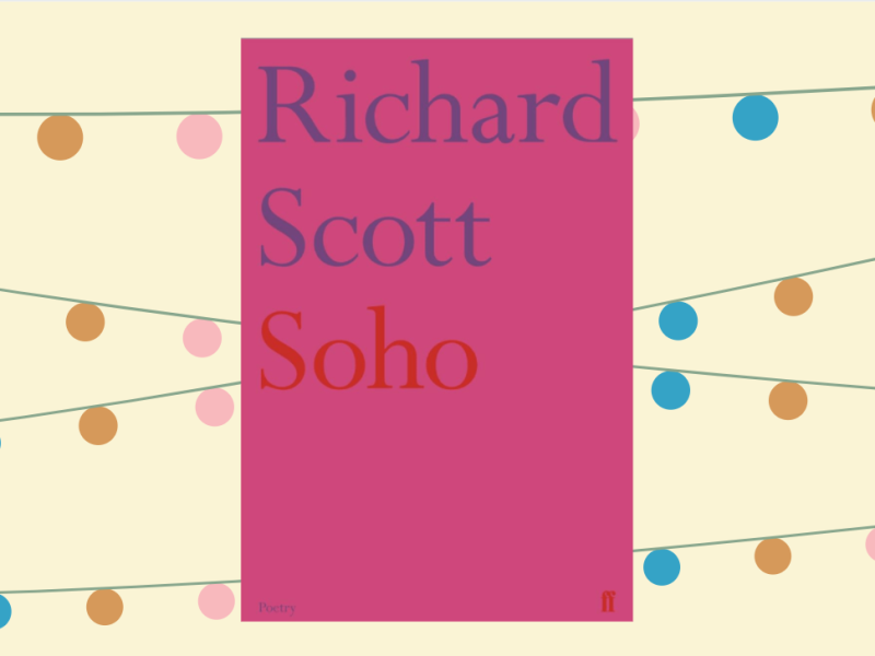 Bright pink cover of 'Soho' by Richard Scott on a yellow background with colourful garlands in the background