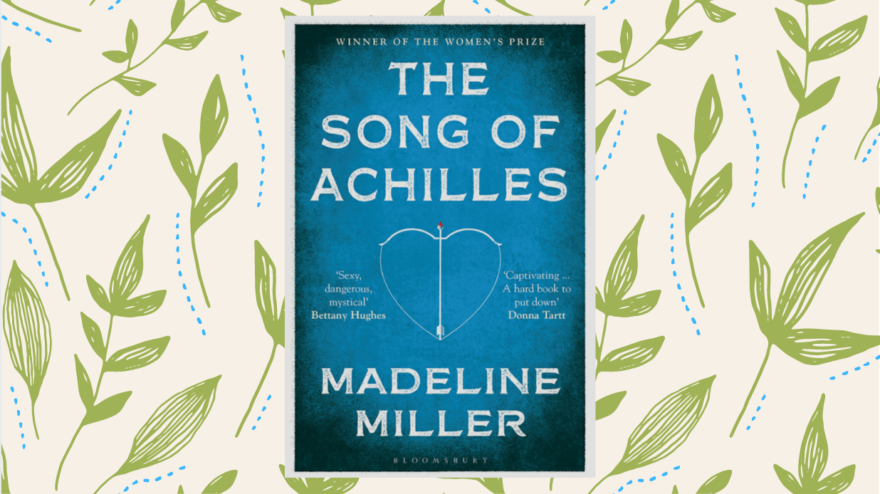 Cover of 'The Song of Achilles' on cream background with olive leaves pattern.