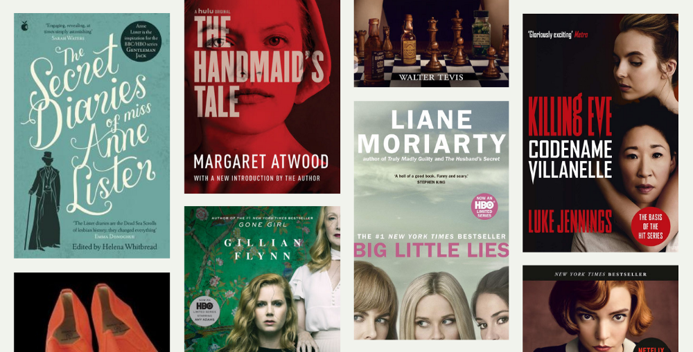 """A collage of book covers including: """"The Secret Diaries of Miss Anne Lister"""", """"Sharp Objects"""", """"Big Little Lies"""", """"Killing Eve"""", """"The Queen's Gambit"""", and """"The Handmaid's Tale""""."""